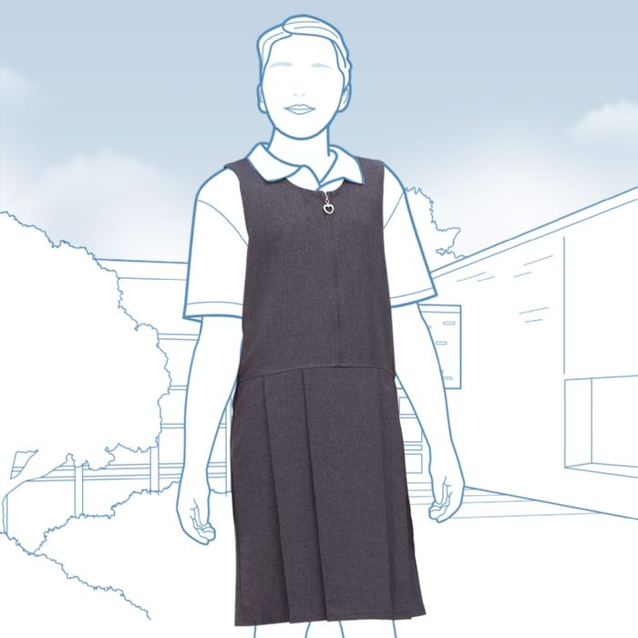 Zip-front Pleated Pinafore